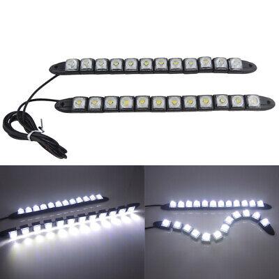 2x 85CM 12V LED White Car DRL DayTime Running Strip Light Flexible Soft Tube #C3