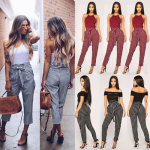 541f5fd51 Women's High Waist Harem Cigaratte Pants Tie Belt Casual Loose ...