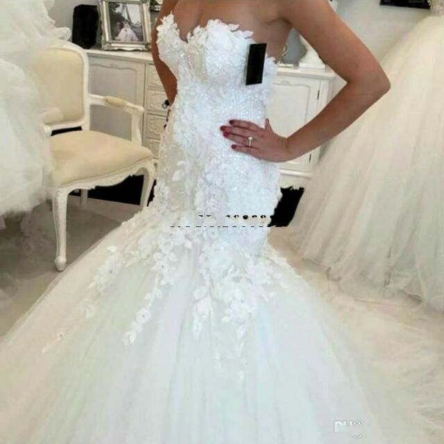 Sheath Applique Sweet Tulle Mermaid Wedding Dress chapel Bridal Gown Custom Size