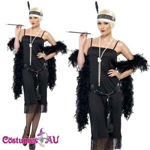 ladies 1920s 20s black flapper costume charleston gatsby outfit fancy dress up ebay. Black Bedroom Furniture Sets. Home Design Ideas