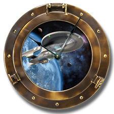 "10.5"" Spaceship Copper Porthole Wall Clock - Galaxy Home Wall Decor - 7140"