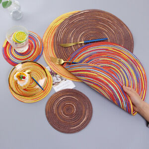 Set of 6 Braided Colorful Ramie Round Placemat Stain Resistant Dining Table Mats