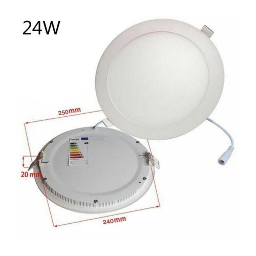 Round DEL Encastré Plafond Panneau Lumière Blanc 24 W Lampe 6000K élégant x 6