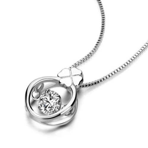 """Ring Circle Pendant Box Chain Necklace Clear CZ Solid 925 Sterling Silver 18/"""""""