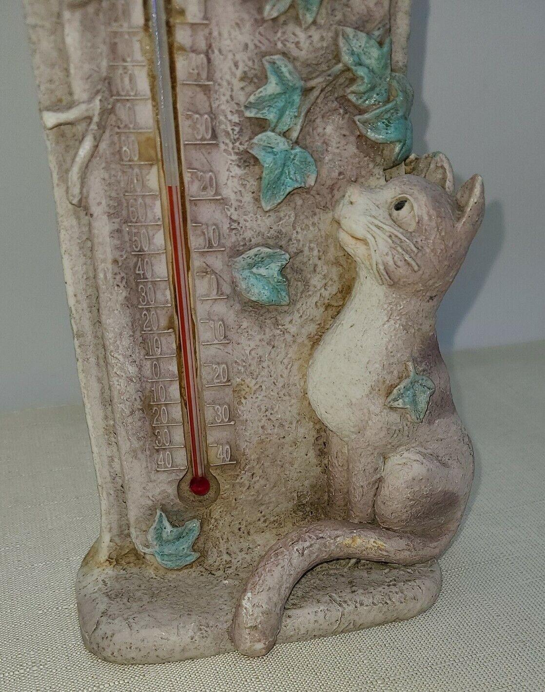 Cat & Bird Indoor/Outdoor Thermometer Resin 8.5