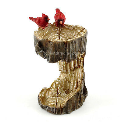Miniature Stump Bird Bath with Cardinal TO 4380 Fairy Faerie Hobbit Gnome Garden