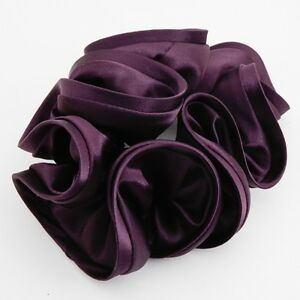 Image Is Loading Solid Glossy Satin Fabric Ponytail Holder Luxury Hair