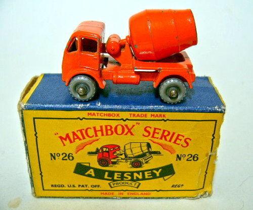 MATCHBOX rw 26a cement Mixeur argentées roues très rare