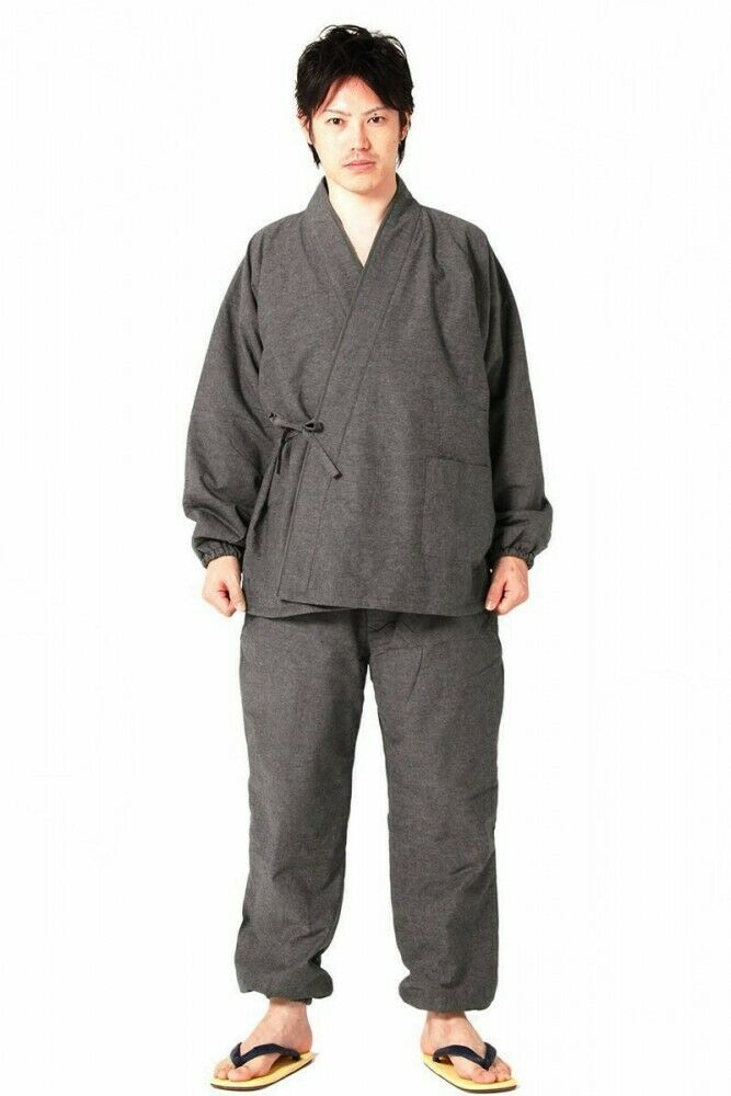 Men's Samue Gray Japanese traditional work wear for winter warm wear any size