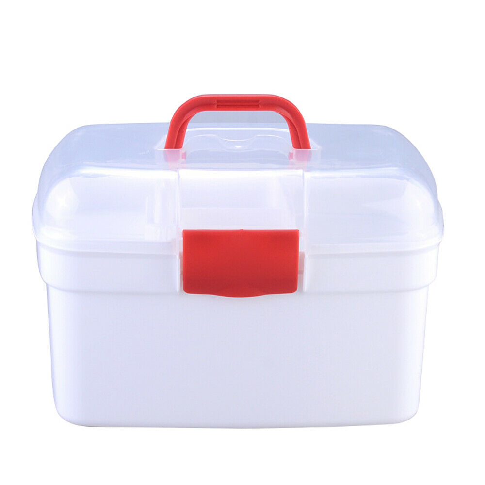 2 Layer Health Pill Medicine Chest Storage Box Emergency Home First Aid Kit #AM8