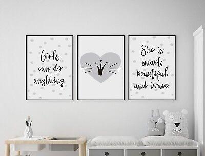 Set of 3 She Believed She Could Fierce Grey Prints Nursery Girls Room Wall Art