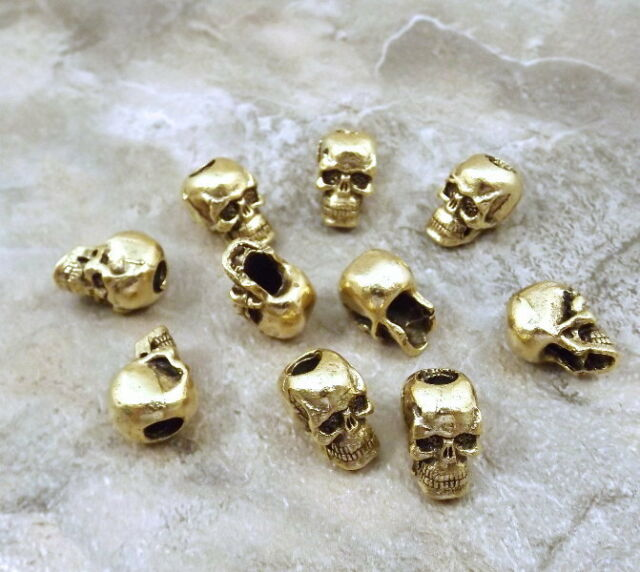 10 Gold Tone Pewter Beads - 7mm SKULL with Vertical Hole -5111
