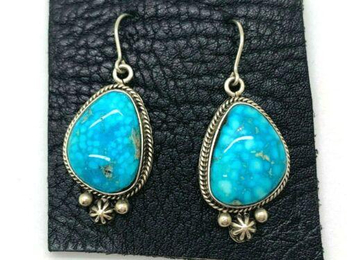 Navajo Lester Jackson LJ Turquoise Sterling Dangle