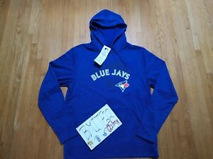 super popular 2c5e1 79671 Details about NWT Toronto Blue Jays Majestic MLB Men Blue Cool Intense  Action Hoodie Jacket M