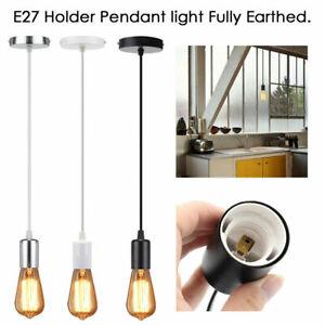Pendant-Light-Holder-earth-Fitting-E27-Screw-Ceiling-Rose-Light-PVC-Fabric-Flex