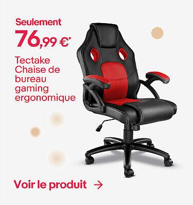 Tectake Chaise de bureau gaming ergonomique - Seulement 76,99 €*