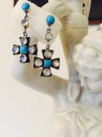 Nicky Butler Sterling Silver Turquoise and Moonstone Cross Dangle  Earrings