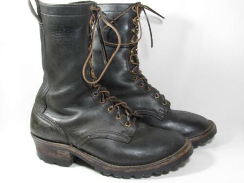 Nick's Logger Work Boot Men size 9 3E Black Leathe