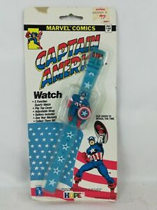 VINTAGE-1990-CAPTAIN-AMERICA-5-FUNCTION-WATCH-MARVEL-COMICS-NEW-IN-BLISTER-PACK