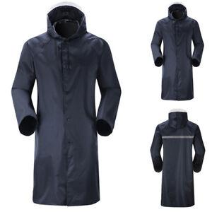 Men-039-Waterproof-Raincoat-Lightweight-Casual-Work-Hooded-Zip-Long-Coats-Outwear