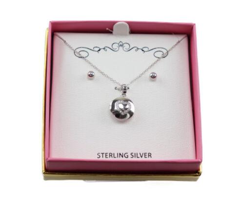 Macy/'s Genuine Sterling Silver Heart Pendant//Necklace Set C508 $80