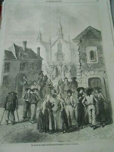100% De Qualité Gravure 1862 - Sortie De L'église De Locminé En Bretagne