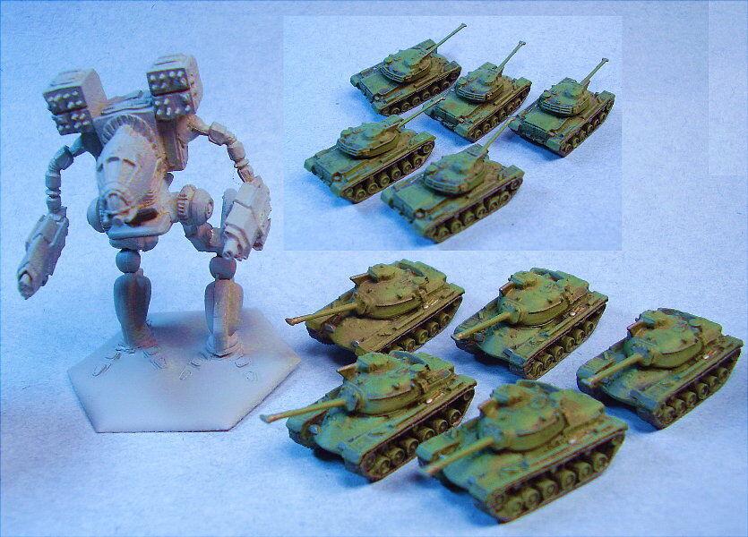 GHQ miniatures suitable for Battletech M-48A3 Patton (5)