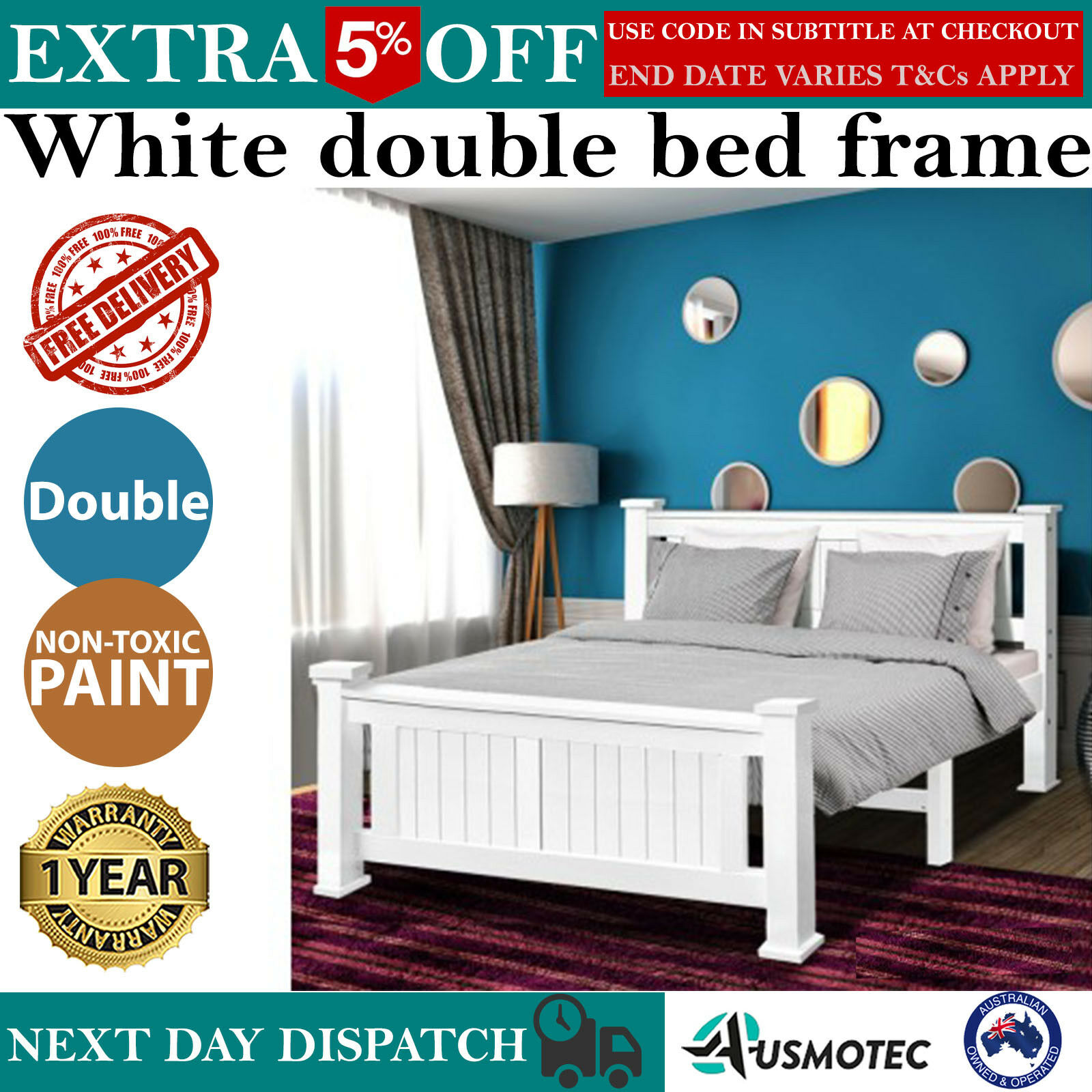 Details About New White Double Bed Frame W Headboard Pine Wood Timber Slat Bedding Bedroom