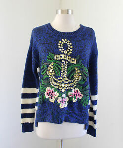 Juicy-Couture-Blue-Striped-Beaded-Anchor-Floral-Embroidered-Sweater-Nautical-XS