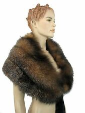 NWT GENUINE REAL THICK RED FOX FUR SCARF WRAP STOLE SHAWL COLLAR