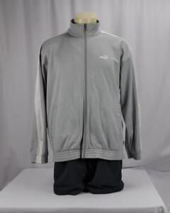 fd9b56888915 Puma Mens White Stripe Pockets Full Zip Track Jacket Size XL Gray