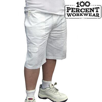 Di Alta Qualità Tradesman Pittori Decoratori Bianco Cotone Cargo Combat Pantaloncini Di Lavoro-mostra Il Titolo Originale Elevato Standard Di Qualità E Igiene