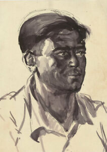 Peter Collins ARCA - c.1970s Pen and Ink Drawing, Portrait of a Man