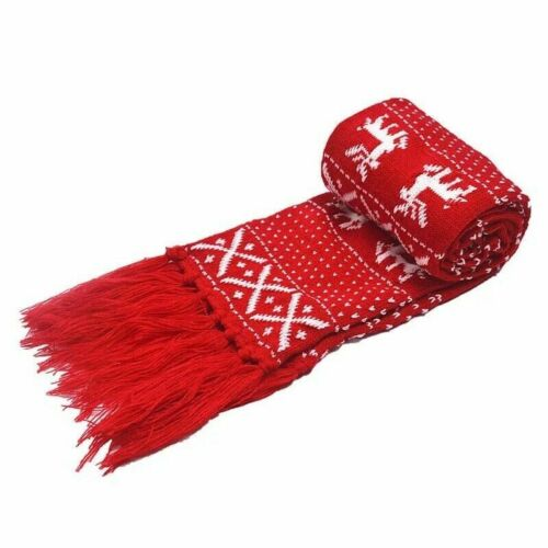 Unisex Christmas Scarf Warm Winter Scarves Knitted Long Festive Neck Scarf Gift