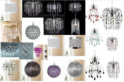 Geleerd Chandelier Style Ceiling Light Shade Acrylic Crystal Bead Ball Droplet Pendant