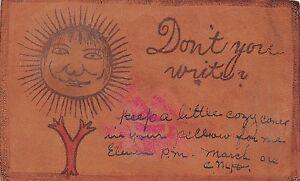 Etats-Unis-Authentique-carte-postale-en-cuir-POST-CARD-leather