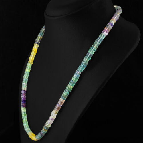 TOP 225.00 CTS NATURAL UNTREATED RICH MULTICOLOR FLOURITE ROUND BEADS NECKLACE