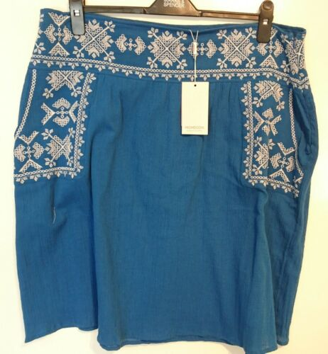 18 Embroidered Bnwt Uk Skirt Esme Monsoon Blue qx707f