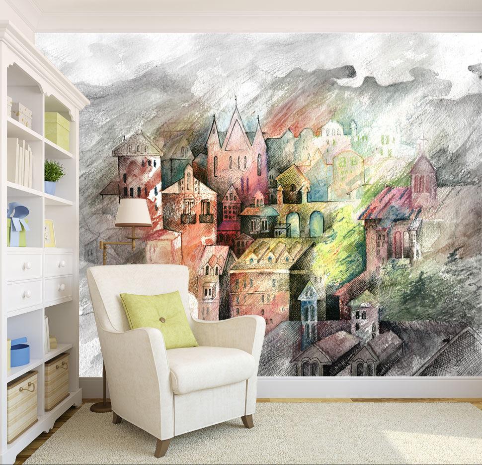 3D Farbiges Haus 0070 Fototapeten Wandbild Wandbild Wandbild Fototapete Bild Tapete Familie Kinder | Üppiges Design  | Fuxin  | Billig ideal  801439
