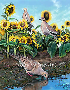 Mourning-Dove-Art-Print-034-Morning-Watch-034-White-Wing-Doves-by-Artist-Roby-Baer-PSA