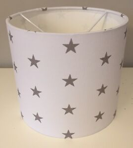 White-With-Grey-Stars-Lampshade-Handmade-In-30cm-Drum-Nursery-Bedroom
