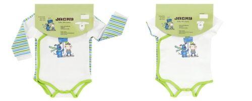 50-92 Jacky Baby Wickel-Body 2er-Pack lang oder kurz grün weiß  Jungen Gr