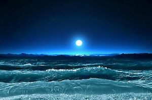 framed print rolling ocean waves under a full moon picture poster