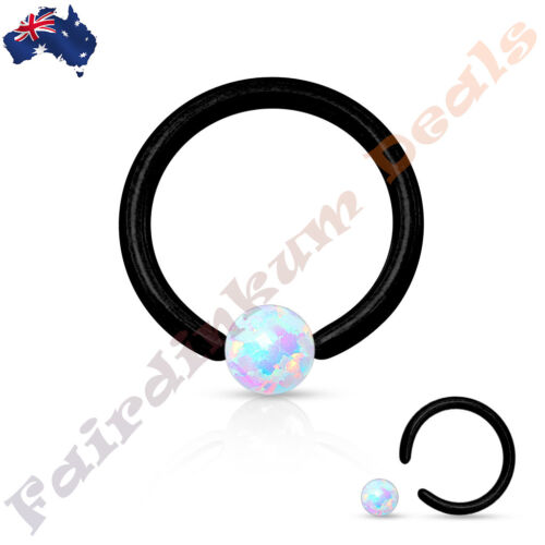 Surgical Steel Black Ion Plated Captive Bead Ring With White Synthetic Opal