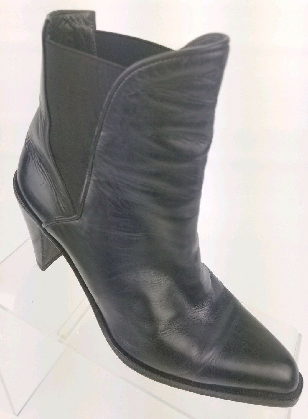 VIA SPIGA Women's Chelsea Ankle Boots Black Leather Pointed Toe Pull On Size 6