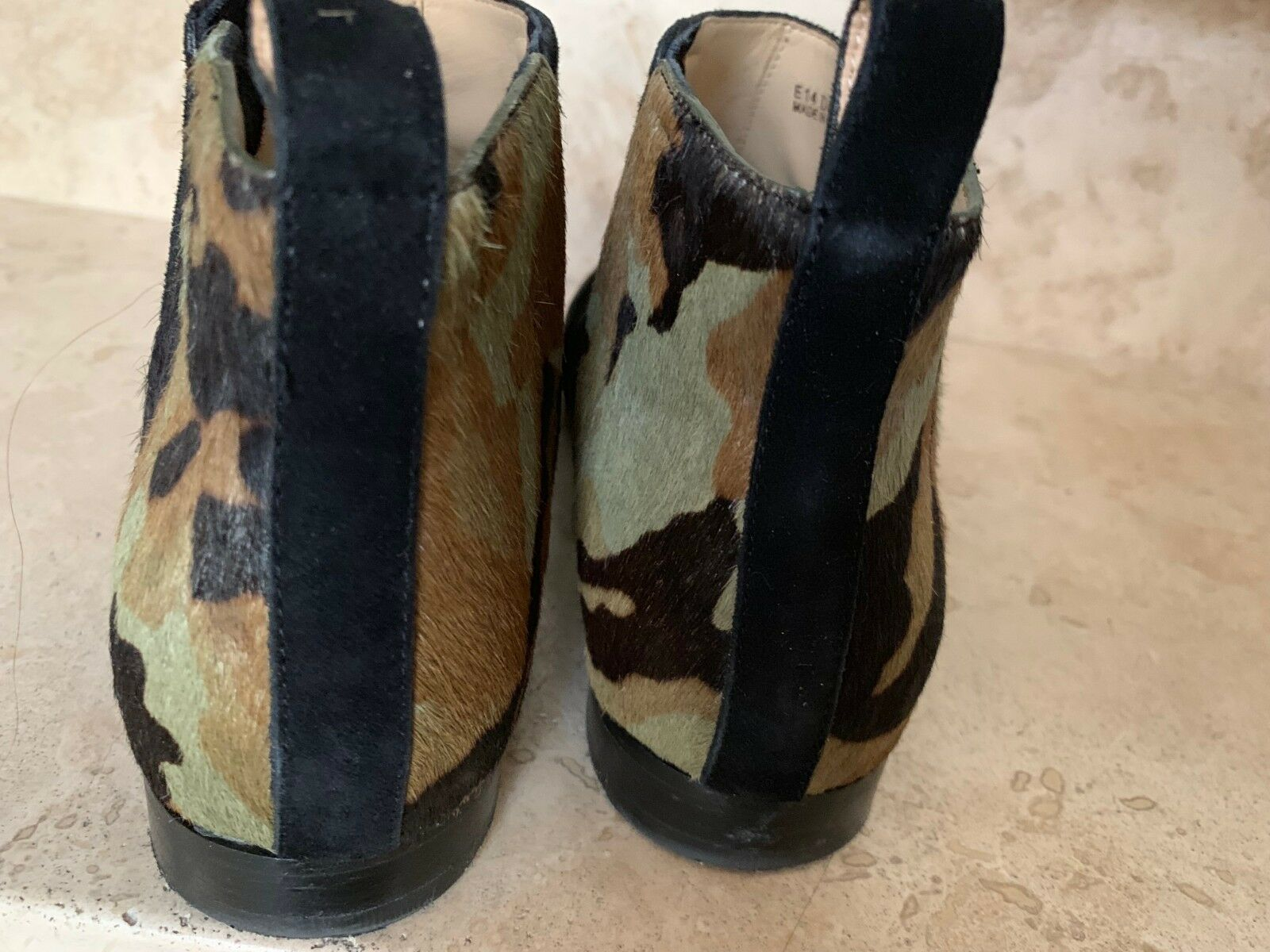 Cole Haan Embury Bootie Black Black Black Suede and Green Camouflage Size 7 5f41e0