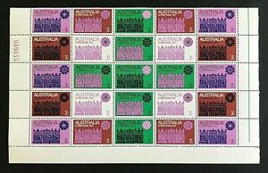 1971-Australia-Stamps-7-cent-039-Christmas-Issue-034-Pane-of-25-Stamps-MNH