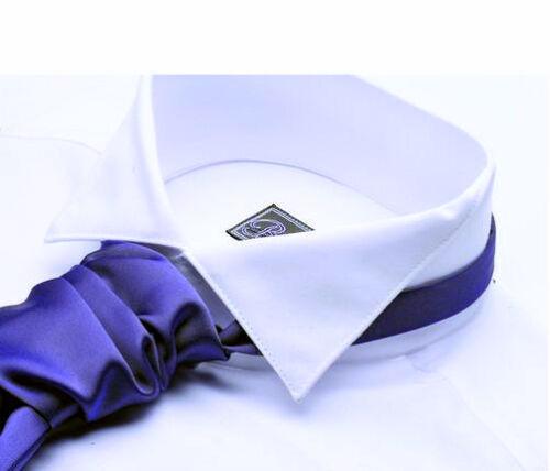 NUOVO Scozzese Nero / Bianco Vittoriano diffusione WING colletto della camicia cotone doppio polsino