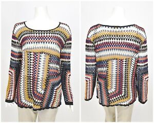Womens-EAST-Cotton-Knit-Long-Sleeve-Jumper-Sweater-Multicolor-Size-XL