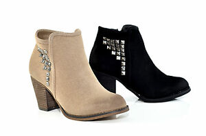 Therapy-Shoes-Chester-High-Block-Heel-Ankle-Boots-Black-Beige-5-6-7-8-9-10